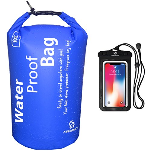 Freegrace Waterproof Dry Bag - Lightweight Dry Sack with Seals and Waterproof Case -Float on Water -Keeps Gear Dry for Kayaking, Beach, Rafting, Boating, Hiking, Camping and Fishing (2L, Navy Blue)
