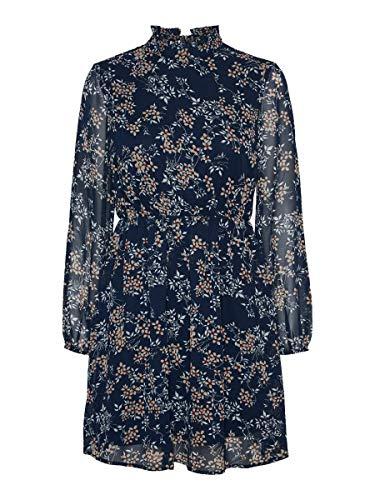 Vero Moda Vmvilde L/S Short Dress Exp Ga Vestito, Blu Navy/Fiore, XL Donna