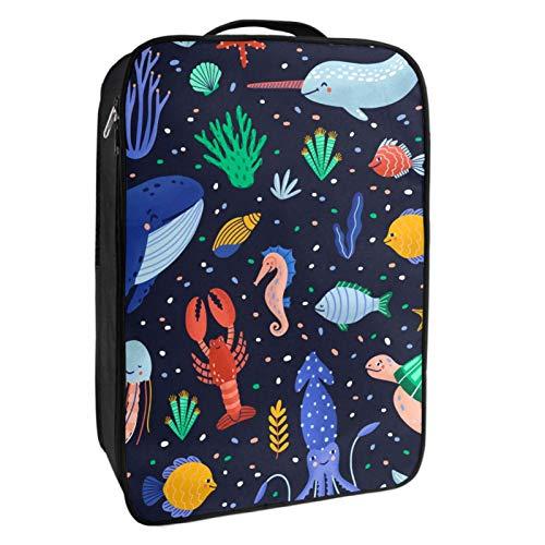 Caja de almacenamiento para zapatos de viaje y uso diario Ocean World Sea Animals Zapatero organizador portátil impermeable hasta 12 yardas con doble cremallera y 4 bolsillos
