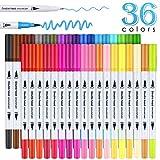 36 Colour Felt Tip Pens Watercolour Marker Pens, BOIROS Double Art Colouring Pens
