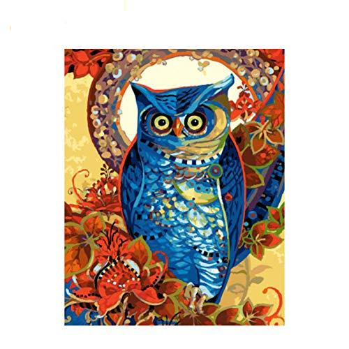 GKJRKGVF Blauw Uilen Diy Schilderen Door Getallen Abstracte Vogels Met Bloem Olie Schilderen Op Canvas Acryl Muur