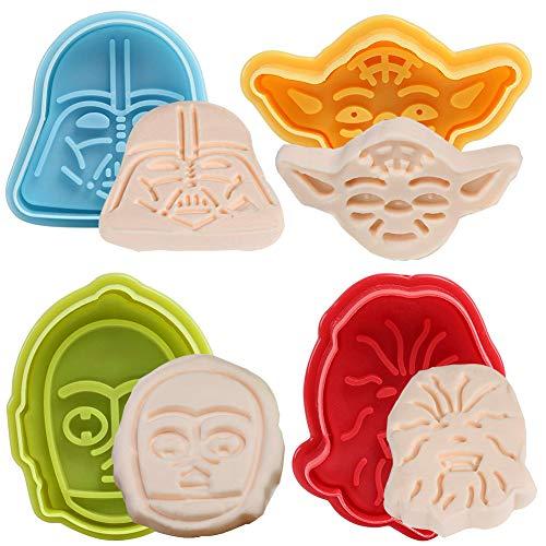 BETOY Star Wars Cookie Cutters stantuffi Set di 4 - Set di 4 Biscotti Tagliatori Stampi Stampi per Torta Decorazione Stampo Fondante Bakeware Cottura, Colore Casuale