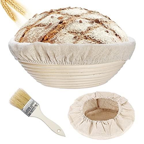 Gärkörbchen rund 25cm– Gärkorb Brot mit Leineneinsätze und Holzbürste, Garkoerbchen für Brot und Teig