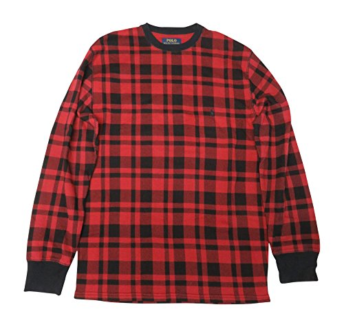 Ralph Lauren Polo Mens Thermal Waffle Shirt Red Plaid, X-Large