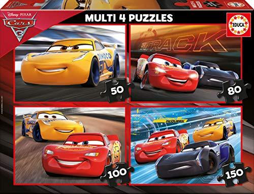 Cars peliculas y TV Multipuzzle, 50-80-100-150 Piezas Educa Borrás 17179