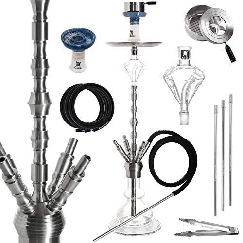 Kaya Shisha Komplett-Set INOX 580 Quattro - 82 cm hoch - Edelstahl Wasserpfeife mit 4 Anschlüssen + Diamond Molassefänger + Zubehör