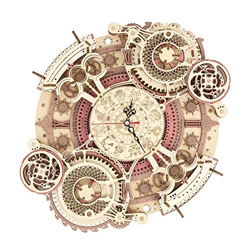ROKR 3D Wooden Puzzles Zodiac Wall Clock Model Kits to Build DIY Mechanial Building Set for Adults