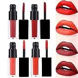 4 colori/set opaco rossetto metallizzato impermeabile a lunga durata lipgloss non appiccicoso, labbro cosmetico(02)