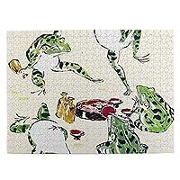 500ピース ジグソーパズル カエルのパーティー 浮世絵 パズル 木製パズル 動物 風景 絵 ピクチュアパズル Puzzle 52.2x38.5cm