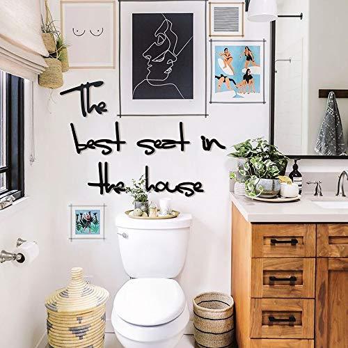 Hoagard Metal Wall Art - Decoración minimalista para pared - The Best Seat In The House - Para baños modernos - Metal - Negro