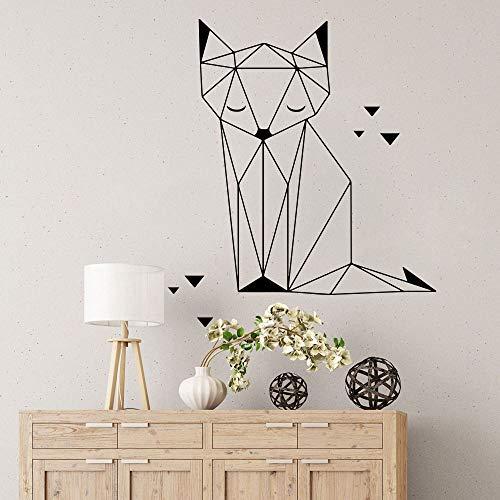 Triángulos geométricos abstractos Zorro Origami Gato Selva Animal Vinilo Etiqueta de la pared Calcomanía Niños Guardería Dormitorio Sala de estar Oficina Estudio Decoración para el hogar Mur