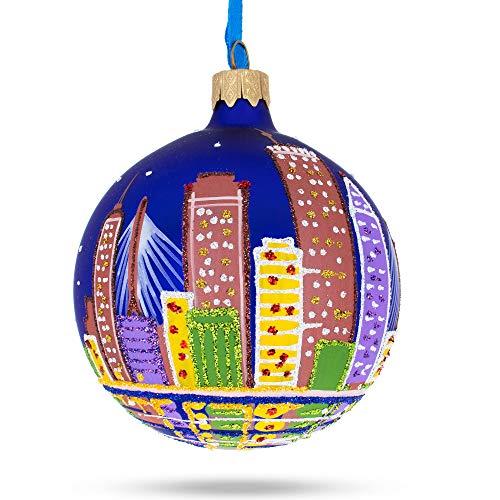 BestPysanky Boston, Massachusetts Glass Ball Christmas Ornament