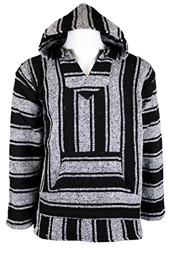 Canyon Creek Striped Woven Baja Jacket Coat Hoodie (Black, Large)