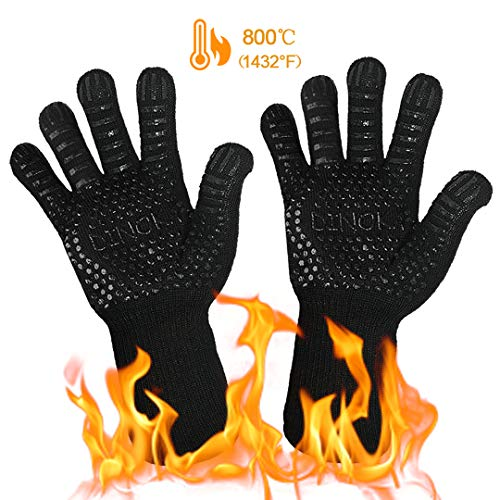 DINOKA BBQ Parrilla Guantes Hornos Mitones 1432 ° F Guantes resistentes al calor extremo Guantes barbacoa Accesorios de cocina Protector de antebrazo para cocinar, asar a la parrilla, hornear (negro)
