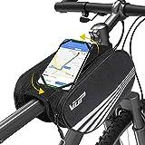 VUP Rahmentasche, doppelseitiger Rahmentasche Fahrrad, wasserdichter Fahrrad Lenkertasche, Fahrradtasche mit 360 verdrehbare Fahrrad Handyhalterung, Face ID/Touch ID kompatibel
