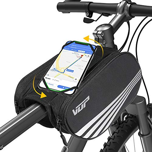 VUP Bike Front Frame Bag, Universal Bicycle Handlebar Bag, Top Tube Bike Bag with 360° Rotation Phone Holder for iPhone 12/Pro/12 Pro max/12 mini/11 Pro/XS max/XR/X/7/8 Plus, 4.0