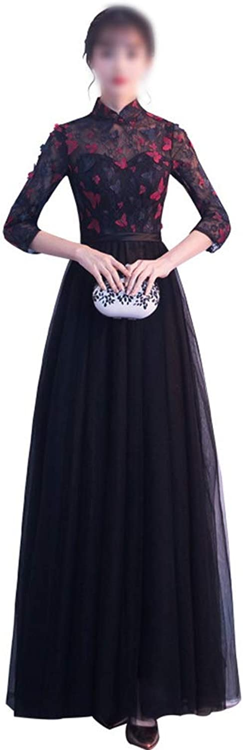 Sylviaan YY6 Noble Black High Collar Lace Flowers Long Party Party Evening Dress for Women