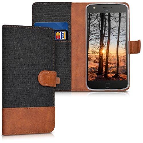kwmobile Motorola Moto Z Play Hülle - Kunstleder Wallet Case für Motorola Moto Z Play mit Kartenfächern & Stand - Schwarz Braun