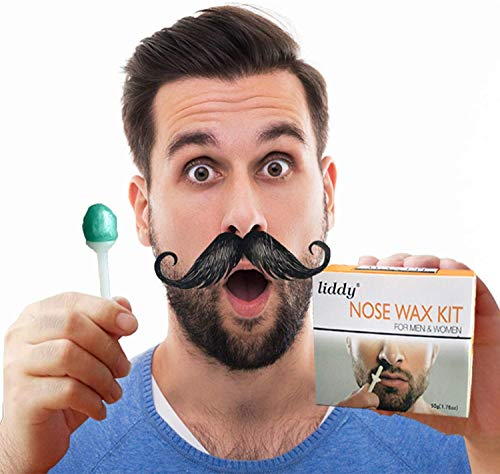 Nose Wax kit, Liddy Nose Hair Removal Wax Kit Microwavable Home Use Hard Wax for Men and Women 50 Grams,20 Wax Sticks Applicators