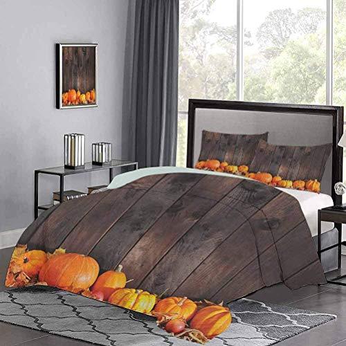 Tagesdecke Bettdecke Set Thanksgiving-Themen Kürbisse Viele Formen & Gr??en in Hay Holzbrett Hintergr& Sommer Bettw?sche Design ist sehr einfach, Aber sch?n Braun Orange
