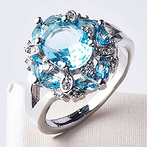 DJMJHG Anillos de Piedras Preciosas de rubí para Mujer Anillo de joyería de Plata de Ley 925 Genuina Regalos de Compromiso de Boda romántica Femenina 9