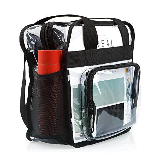 with Extra Long Adjustable Shoulder Strap and Handles Heavy-Duty Clear Stadium Bag Clear Crossbody Tote Bag NFL /& PGA Stadium Approved 12 x 12 x 6