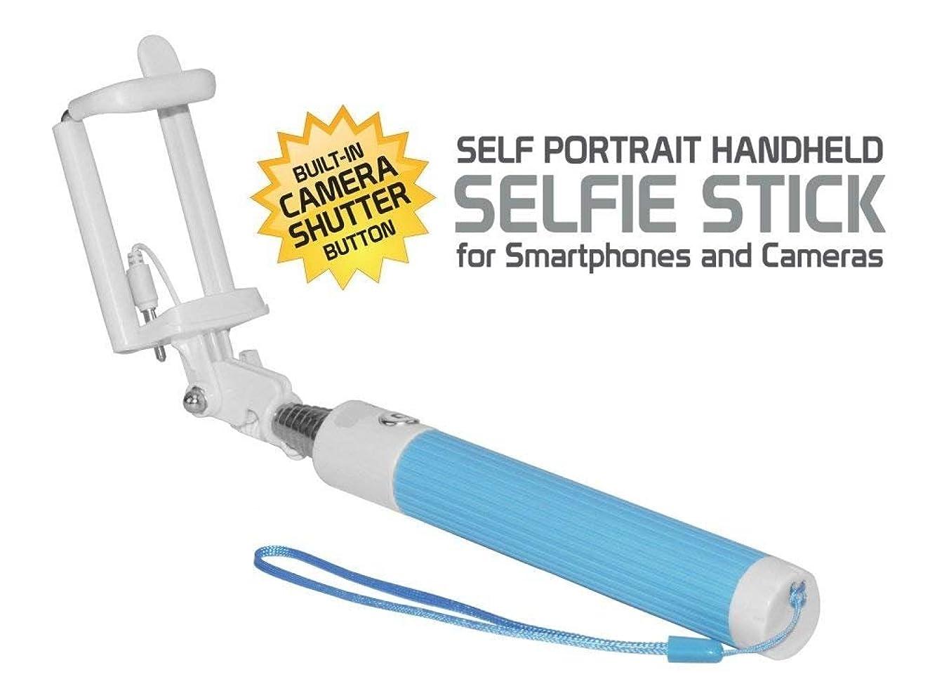 Cell-Stuff Compact Blue Extendable (AUX Cable) Self Portrait Selfie Stick [Compatible w/iPhone 6], Handheld Monopod w/Shutter Controls Button on H&le
