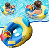 Amazing Toddlers Kids Inflatable Pool Float Swimming Float Seat Boat Cute Car Baby Floatie Safe Seat Swim Ring with Steering Wheel Lake Float Raft Air Bed Floating Mattress for Girls Boys 1-5 Years