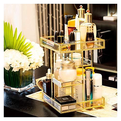 Subsky Rotierender Make-up-Organizer Rotierender 360-Grad-Arbeitsplatten-Kosmetik-Make-up-Organizer Aufbewahrungsbox, Schminktisch-Organizer Gold Spin Large Capacity Holder