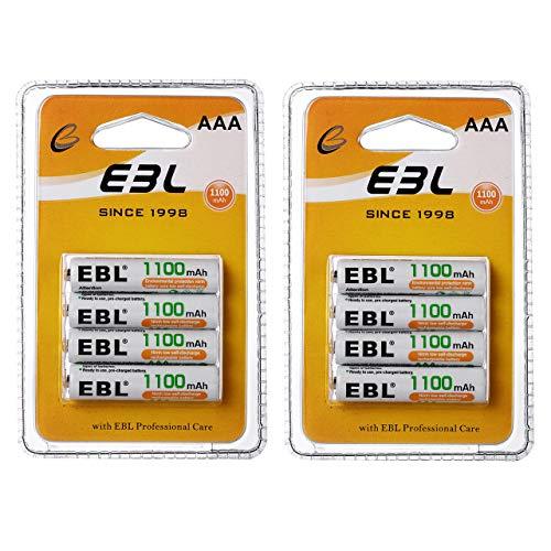 EBL AAA Akku 1100mAh mit hoher Kapazität, AAA wiederaufladbar Batterien,1.2V Micro AAA, 8er Pack