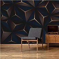 写真の壁紙3D立体空間カスタム大規模な壁紙の壁紙 ゴールデンラインの壁の装飾リビングルームの寝室の壁紙の壁の壁画の壁紙テレビのソファの背景家の装飾壁画-200X140cm(78 x 55インチ)