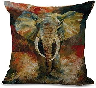 Beisite BST Protector de Almohada de Lino Cuadrado de Elefante Pintado Decorativo para sofás Camas sillas Funda de cojín Protectores de Almohada Paquete de 2/4 Paquetes:18