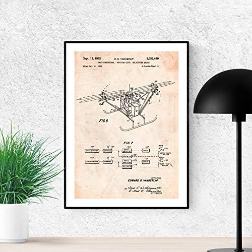 Nacnic Poster de Patente de dron helicoptero Quadcopter. Lámina para enmarcar. Poster con diseños, Patentes, Planos de inventos Famosos. Decoracion de hogar