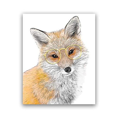 JinYiGlobal Nursery Animal Fox Canvas Print Baby Room Decoración de la Pared Hipster Animal Wear Gafas Cartel de Dibujos Animados Kids Room Decor Painting 55x80cm Sin Marco