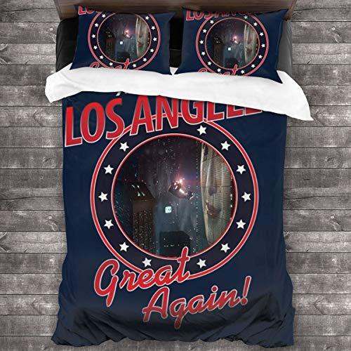 KUKHKU Blade Runner Make Los Angeles Great Again Juego de cama de 3 piezas, funda de edredón de 86 pulgadas x 70 cm, juego de cama de 3 piezas decorativas con 2 fundas de almohada