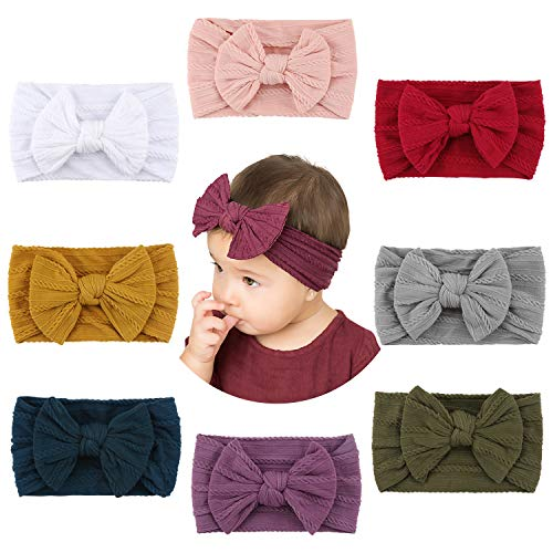 Makone Baby Stirnband, Handmade Stretchy Nylon Stirnband mit Bögen Pom Pom Brötchen 5,5 Zoll Big Hair Bow Stirnband für Infant Baby Girls 8PCS