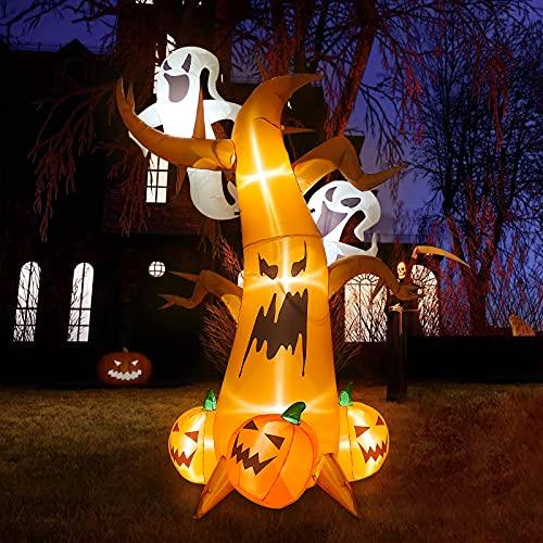 Árbol Fantasma Inflable Halloween 7,9 pies Altura, Kalolary Blow Up Spooky Tree con Fantasmas Calabazas Decoración LED Light Up Outdoor Interior Halloween Holiday Decoraciones Patio casa Césped Jardín