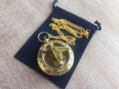 Asmara Nautischer Messing-Sonnenuhr-Kompass mit 68,6 cm langer Kette – Halskette mit Anhänger – Taschenstil