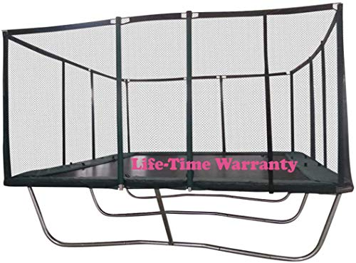 Happy Trampoline - Gymnastic Adults Kids Rectangle Trampoline with Net Enclosure - Heavy Duty Commercial Grade Heavy Weight Jumping Capacity (14 X 16 Ft)