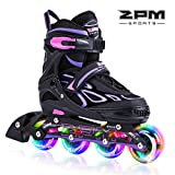 2PM SPORTS Vinal Adjustable Size Kid Girl Rollerblades LED Light Wheels, Inline Skates for Kids, Girls and Women and Men - Medium (33-36EU)
