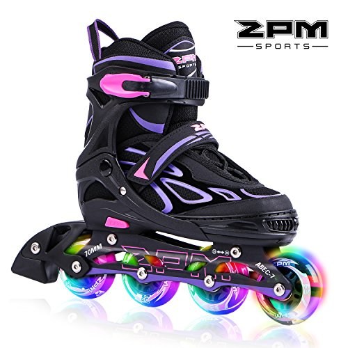 2PM SPORTS Vinal Regolabili Pattini in Linea Bambina,Light up Roller Pattini Roller Inline Skates per Bambina e Bambino e Ragazze - Violet L(37-40)