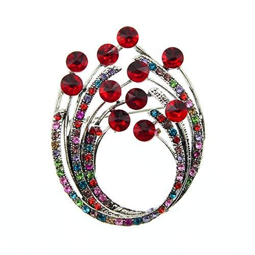 Broches de flores Vintage con diamantes de imitación para mujer, joyería de moda de colores mezclados, accesorios retro de diseño de estilo otoñal