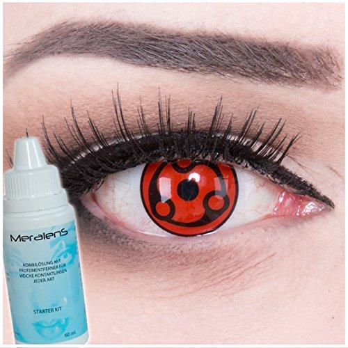 EIN PAAR Farbige Manga Anime Naruto Cosplay 14mm Kontaktlinsen 'Eternal Madara' mit gratis Linsenbehälter und Kombilösung. Perfekt für Fasching!