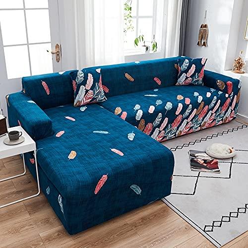 ASCV Moderne elastische Sofabezüge Chaiselongue für Wohnzimmer Verstellbare Polyester-Schnittsofa Schonbezug A9 4-Sitzer