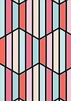 igsticker ポスター ウォールステッカー シール式ステッカー 飾り 1030×1456㎜ B0 写真 フォト 壁 インテリア おしゃれ 剥がせる wall sticker poster 008608 チェック・ボーダー ストライプ 模様 赤 ピンク