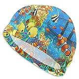 Gorro de baño Océano Peces Tropicales Acuario Pez Payaso Sombrero de natación para Adultos Piscina Gran Cabeza Cabello Chicos Chica Gorro de baño Blanco