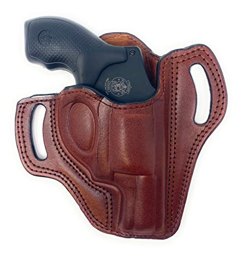 Cardini Leather OWB Leather Holster for S&W J Frame, for Ruger LCR and SP101, and Other 38 Special Snub Nose Revolver up to 2.25' Barrel- Brown Right Hand