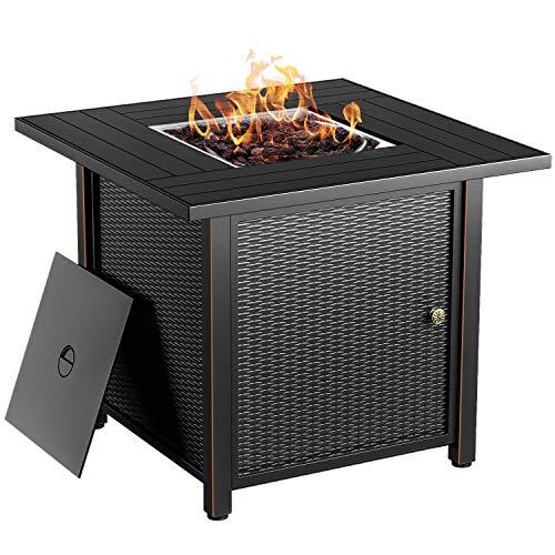 BLUBERY 30' Propane Fire Pit ,50,000 BTU Outdoor Fire Pit Table.Wicker Steel Surface ,Auto-Ignition,ETL Compliant,Your Garden Warm Companion.