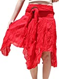Svenine Brand Wild Light Cotton Gypsy Pixie Dancing Short Skirt Coconut Buckle, Large, Red