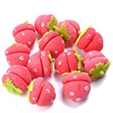 LICIONE 20 Pieces Soft Hair Curlers Set DIY No Heat Strawberry Hair Curlers Sponge for Women Girls (Pink)